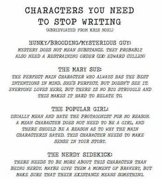Characters you need to stop writing