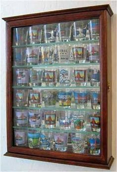 36 Souvenir Shot Glass Display Case Shadow Box Wall Mounted Cabinet, Mirror Background, Walnut Finish (SCD06B-WA)
