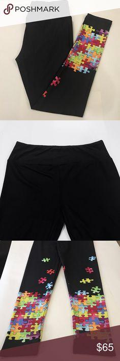43c62cae25b88 Black puzzle leggings (OS) 💞Puzzle leggings. Puzzle piece leggings.  Beautiful vibrant