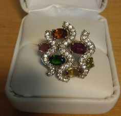 Natural Multi Color Tourmaline and Cz's Sterling Silver Ring 5.5 #Statement