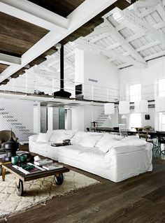 White sofa in loft apartment.