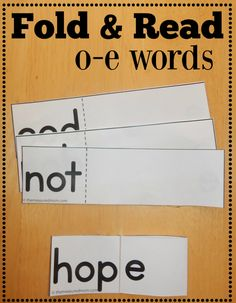 Free fold & read cards for o-e words - The Measured Mom Reading Games, Reading Centers, Reading Activities, Guided Reading, Phonics Activities, Literacy Games, Kindergarten Activities, Beginning Of Kindergarten, Kindergarten Reading