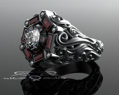 Men's 2ct Diamond & 1.33ct Ruby cocktail or engagement ring. Mangagement. 18kt Grey Gold, Black Rhodium. Heavy scroll work victorian gothic.