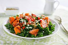Massaged Kale Salad with Sweet Potatoes and Pumpkin Seed Dressing | recipe from FatFree Vegan Kitchen