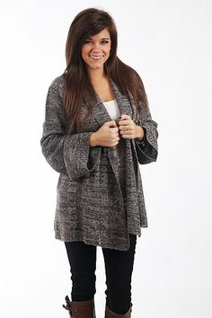 We love this cardigan! The open front cardigan is not too heavy, not too light and has an open front, long draped collar and fantastic bell sleeves! The color is a great neutral and will go with so many outfits! Mint Julep Boutique, Minimal Chic, Open Front Cardigan, Chelsea, Bell Sleeves, Neutral, Gray, Clothes For Women, Medium