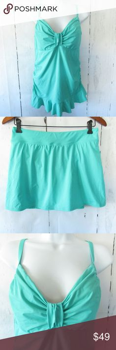 2183a8ff95 Lands End Tankini Top Bottom Skirt Ruched Ruffle Lands End Swim Suit  Tankini Top & Swim