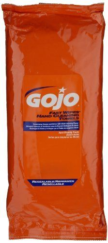 GOJO 6285-06 Fast Wipes Hand Cleaning Paper Towel (6 Pack of 60) by Gojo. $55.15. The GOJO 6285-06 is a six-pack of 60-count toolbox packs of portable, convenient, orange-scented wipes for fast hand cleaning. These wipes remove light grease and oil in one fast, easy step. Convenient for use in service vehicles, on workbenches, on job sites, and wherever water is not available.   Since 1946, GOJO has made products which include a wide variety of soaps, cleansers, and acce...