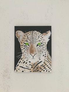 Original acrylic painting Animal Leopard Wall art Potrait