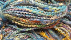 STARRY NIGHT hand spun sequined art yarn 125 by gargoylelover