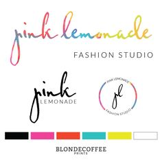 This fun and quirky Premade Logo and Brand Identity, which I aptly named Pink Lemonade. It features bold and Bright colors, clean fonts and lots of attitude!  This logo is perfect for fashion designer, hair stylists, make-up artists, and fashion bloggers. Visit my etsy store now and get your new logo today! Brand Identity, Logo Design, Fashion Logo, Branding Kit, Business Logo, Branding Package, Premade Logo, Bright Logo Design by BlondeCoffeePrints on Etsy
