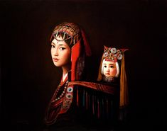 """""""Yao Mother and Child in Festive Dress,"""" by Dongmin Lai  22 x 28 - oil"""