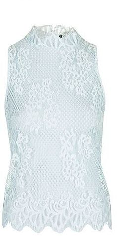 Womens ice blue lace high neck top - pale blue, pale blue from Topshop - £36 at ClothingByColour.com High Neck Lace Top, Winter Colors, Blue Lace, Topshop, Palette, Ice, Colour, Clothes, Women
