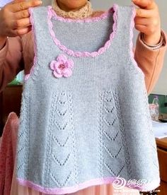 Gray dress with folds knitted Senpolia handmade, . Gray dress with pleats knitted Senpolia handmade, Summer Knitting, Knitting For Kids, Baby Knitting Patterns, Baby Patterns, Free Knitting, Knitting Needles, Knitting Daily, Knitting Yarn, Crochet Patterns