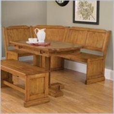 Pemberly Row Breakfast Corner Nook Table Set In Natural Walmart