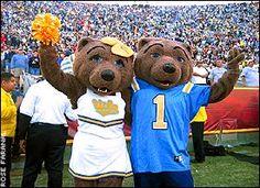 UCLA mascots Joe Bruin and Josephine Bruin cheer on the Bruins.
