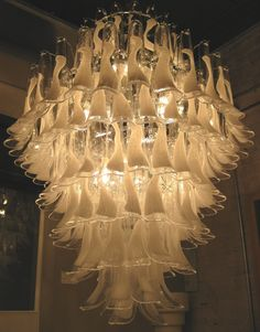 venice italy murano glass chandilers | Elegant Mazzega Style White Feather Murano Chandelier