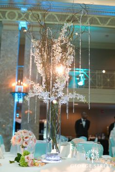 Tall Branch Centerpieces with Crystals
