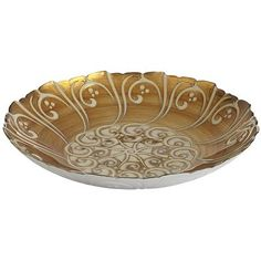 Golden Swirls Bowl - Beautiful glass with marbled Turkish design - dazzling addition anywhere!