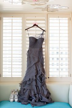 Grey Vera Wang gown with converse sneakers -Photo taken at the W Hotel San Francisco -Wedding at Terra Gallery {Photo by Bustle & Twine}