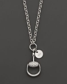 Gucci Horsebit Diamond and 18K White Gold Necklace, 16.9"