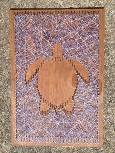 Sea turtle nail and string art. Great gift idea: custom nail and string art! You can order anything you want (city, state, shape, letter, logo, etc) on any color board, with any color string. Only $35 on Etsy!