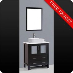 """View the Bosconi A130RC 30"""" Free Standing Vanity Set with Wood Cabinet, Stone Composite Top, Vessel Sink, and Mirror at Build.com."""