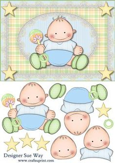 Super Star Baby Boy Card Front and Decoupage on Craftsuprint designed by Sue Way - A fun card to welcome a new baby boy or for a toddlers birthday. A cute baby boy holding a rattle