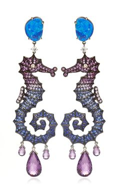 18K Yellow Gold Deep Sea Earrings With Diamonds And Fancy Sapphires by Lydia Courteille for Preorder on Moda Operandi
