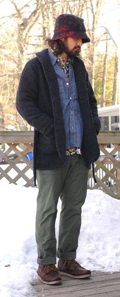 AlGoreVidalSassoon is wearing: Engineered Garments, Engineered Garments FW14 Shawl Collar Knit Jacket, Engineered Garments Chambray Work Shirt, Engineered Garments, Engineered Garments FW14 Fatigues, Yuketen Maine Guide Boots.