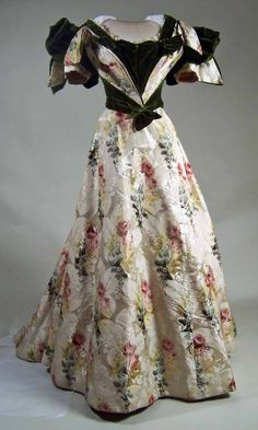"""Dress 1896, British, Made of velvet, silk, and lace. Manchester Gallery"""