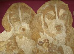 Dogs Handmade leaf art portrait of Dogs  Are you a by museumshop, $99.00. Ancient leaf art.  Made of rice leaves.