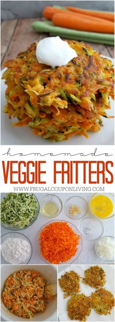 Easy Veggie Fritters recipe with carrots, zucchini, and beaten eggs. Your kids will love this veggie recipe on Frugal Coupon Living.