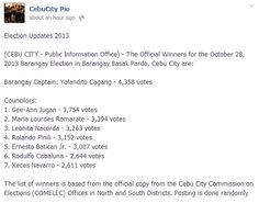 (CEBU CITY - Public Information Office) - The Official Winners for the October 2013 Barangay Election in Barangay Basak Pardo, Cebu City. Election Updates, Public Information, Cebu City, October, Blog, Blogging, Cebu
