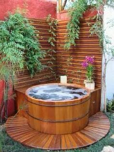 25 Outdoor Jacuzzi Ideas That Will Make You Want to Plunge Right In # # Hot Tub Deck, Hot Tub Backyard, Hot Tub Garden, Backyard Patio, Backyard Landscaping, Small Garden Hot Tub Ideas, Hot Tub Patio On A Budget, Garden Shower, Backyard Designs
