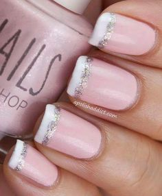 Attractive French Nail Tipped With White And Glitter #glitternails #naildesigns