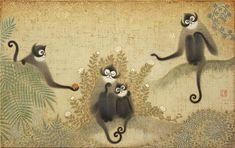 Comfortable  「楽猿図」・10M (2014) パネル・キャンバス・アクリル・金箔 幸福とは、足るを知ること、他者と比べないこと、分かち合うこと。
