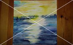 #2: Gelb trifft blau Aquarell; 29,5x30,5