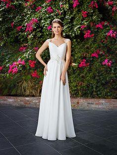 Moonlight Tango T767 greek-goddess cap sleeve metallic-accented wedding dress