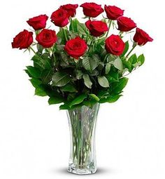 One Dozen Red Roses. For classic romance, a dozen red roses is always the perfect choice. One dozen long-stemmed red roses in a clear glass vase. Exotic Flowers, Fresh Flowers, Beautiful Flowers, Cut Flowers, Send Flowers, Send Roses, Rose Delivery, Flower Delivery, Rosen Arrangements