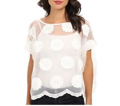 Women's blouse top, white, short sleeve, loose mesh, boat neckline, white embroidered flowers, scalloped hem. From KAS New York