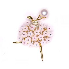 Dancing Girl Pearl Brooch - From Timeless Pearl ($49) ❤ liked on Polyvore featuring jewelry, brooches, pearl jewelry, pearl broach, pearl jewellery and pearl brooch