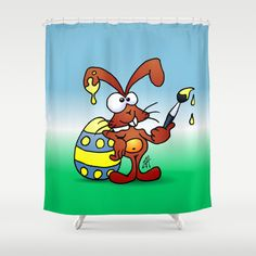 The Easter Bunny wishes you Happy Easter Shower Curtain #Society6 #Cardvibes #Tekenaartje #Easter