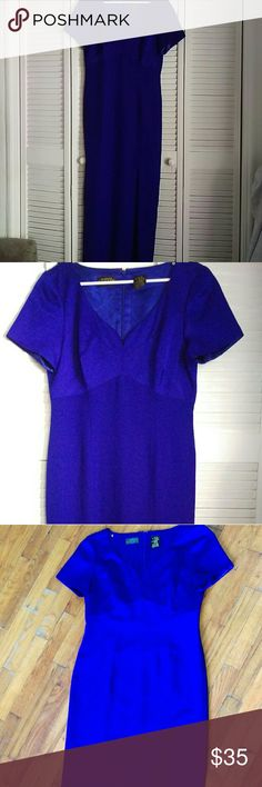 """Liz Claiborne NIGHT (Sz.12) Indigo Evening Dress Definitely the evening dress to have Beautiful Indigo Color and Shiny Slit on the left side Long Gown Zipper Back Excellent conditions """"Worn just once at my brothers wedding got compliments through out the night"""" It's a beautiful dress! Liz Claiborne Dresses Prom"""