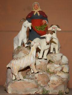 Les santons d'Isoline Fontanille - goats and lady goatherder Clay People, Decoration, Christmas Time, Nativity, Goats, Lion Sculpture, Conduit, Statue, Miniature