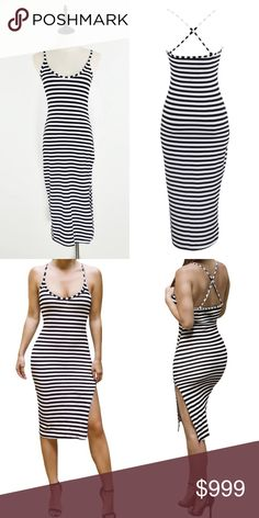 PRE-ORDER S M L  Adorable black and white striped midi dress with back detail. Available in small, medium, and large. PLEASE ASK ME TO PRE-ORDER FOR YOU. Price is 25 dollars. Also features slits on each side. Super simple yet sexy for summer. Dresses Midi