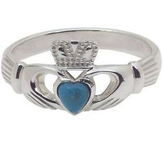 turquoise heart, claddaugh ring