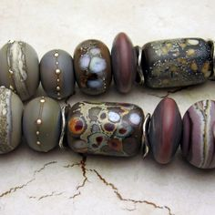 Lampwork Glass Bead Set Etched Organic  by StoneDesignsbySheila, $62.00