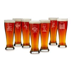 SEVEN DEADLY SINS PILSNER GLASSES - SET OF 7 | etched beer glasses | UncommonGoods