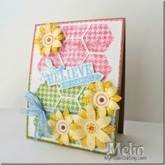 Pastel Believe Spring Card. CTMH Hello Blooms, Believe in Yourself and Flair Background stamps,  With matching SVG files I created. http://www.mypapercrafting.com/2014/04/CTMH-Believe-Spring-Card.html