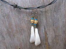unique bone skull & bison/buffalo teeth earrings handmade w/love by tylitha